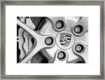 Porsche Wheel Emblem Framed Print by Jill Reger