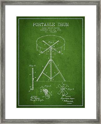 Portable Drum Patent Drawing From 1903 - Green Framed Print by Aged Pixel