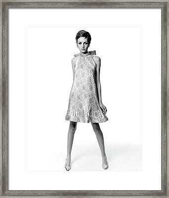Portrait Of Twiggy Framed Print by Bert Stern
