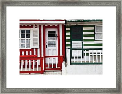 Portugal, Costa Nova, Candy-striped Framed Print by Terry Eggers