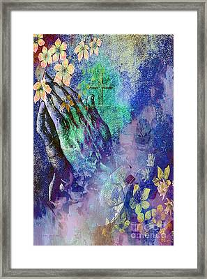 Praying Hands Flowers And Cross Framed Print by Annie Zeno