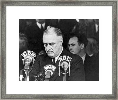 President Franklin Roosevelt Framed Print by Underwood Archives