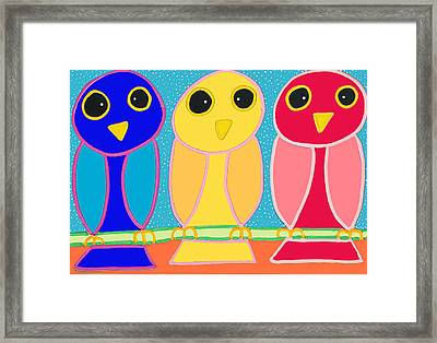 3 Primary Colored Owls Framed Print