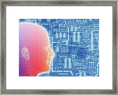 Printed Circuit Board And Wireframe Head Framed Print by Alfred Pasieka