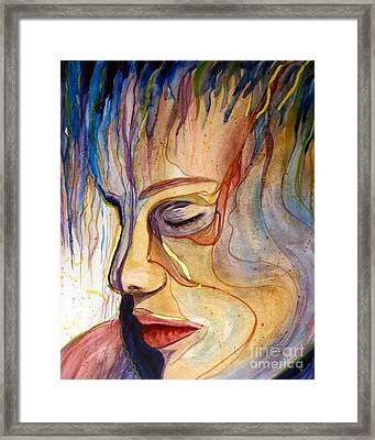 Framed Print featuring the painting Purple Rain by Diana Bursztein