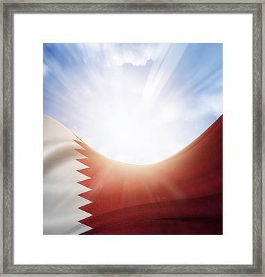 Qatar Flag Framed Print by Les Cunliffe