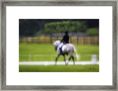 Framed Print featuring the photograph Rainy Day Dressage by Joan Davis