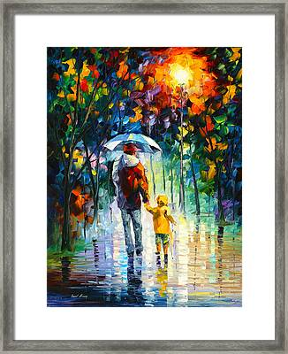 Rainy Walk With Daddy Framed Print