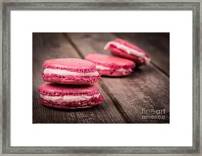 Raspberry Macarons Retro Framed Print by Jane Rix