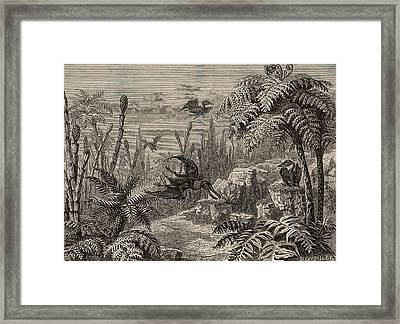 Reconstruction Of Dinosaurs Framed Print by Universal History Archive/uig