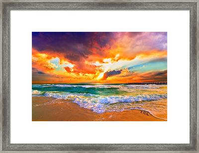 Red Orange Beach Sunset Framed Print