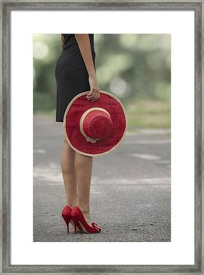 Red Sun Hat Framed Print by Joana Kruse