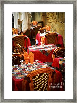 Restaurant Patio In France Framed Print by Elena Elisseeva