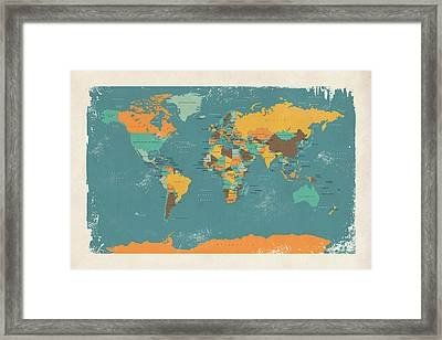Retro Political Map Of The World Framed Print by Michael Tompsett