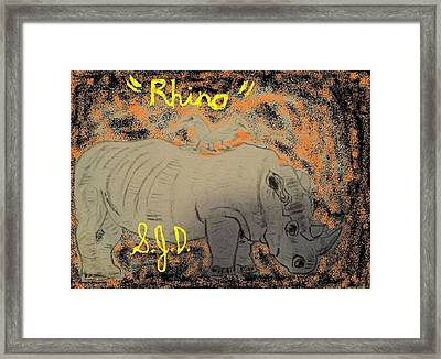 Rhino Framed Print by Joe Dillon