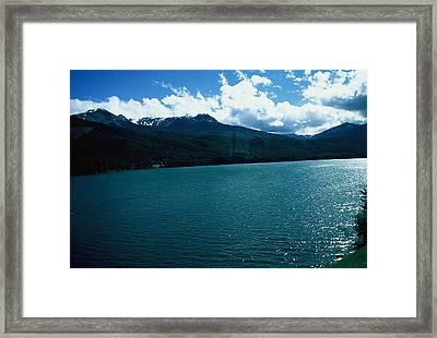 River And Mountains Framed Print by Dick Willis