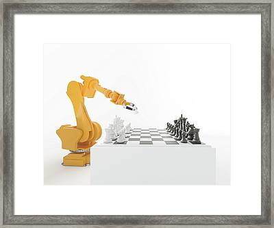 Robotic Arm Playing Chess Framed Print by Andrzej Wojcicki
