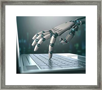 Robotic Hand Using A Laptop Computer Framed Print