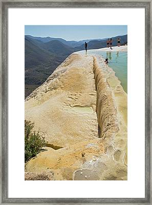 Rock Terrace And Geothermal Pool Framed Print by Jim West
