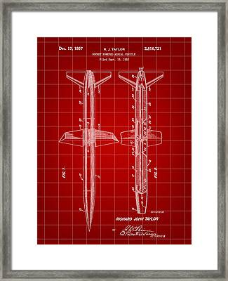 Rocket Patent 1953 - Red Framed Print by Stephen Younts
