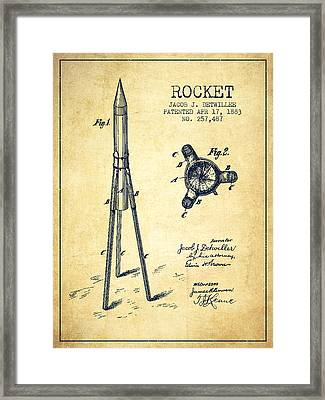 Rocket Patent Drawing From 1883 Framed Print by Aged Pixel