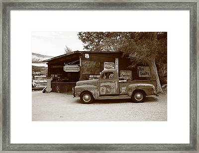 Route 66 Garage And Pickup Framed Print by Frank Romeo