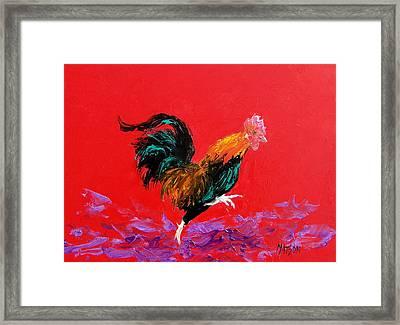 Running Rooster Framed Print