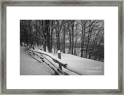 Rural Winter Scene With Fence Framed Print