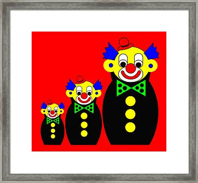3 Russian Clown Dolls On Red Framed Print by Asbjorn Lonvig