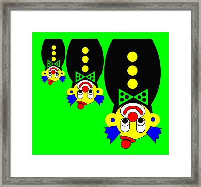 3 Russian Clown Dolls Stand On The Head For You Framed Print by Asbjorn Lonvig