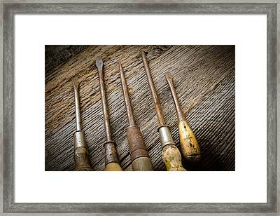 Rustic Screwdrivers On Wood Background Framed Print
