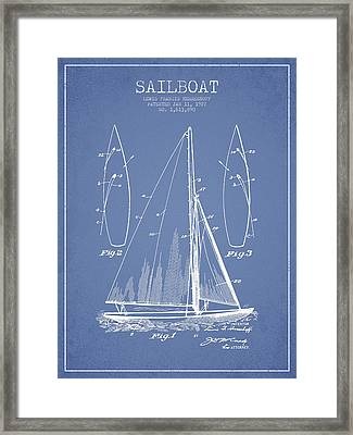 Sailboat Patent Drawing From 1927 Framed Print