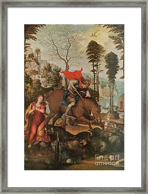 Saint George And The Dragon Framed Print by Photo Researchers