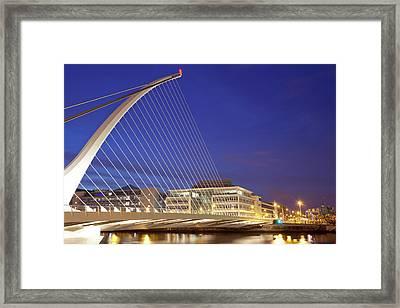 Samuel Beckett Bridge At Dusk, Liffey Framed Print by Panoramic Images