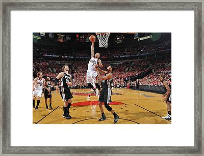 San Antonio Spurs V Portland Trail Framed Print by Garrett Ellwood