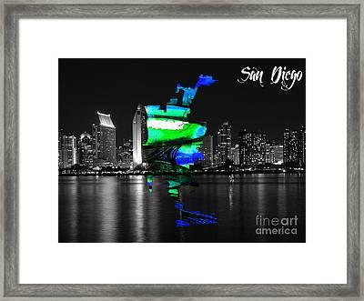 San Diego California Map And Skyline Framed Print by Marvin Blaine