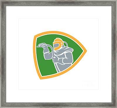 Sandblaster Sandblasting Hose Shield Retro Framed Print by Aloysius Patrimonio