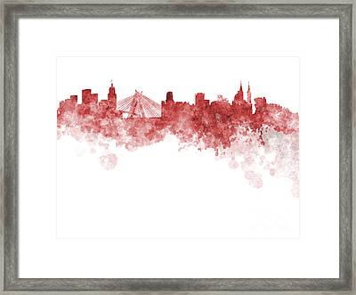 Sao Paulo Skyline In Watercolor On White Background Framed Print