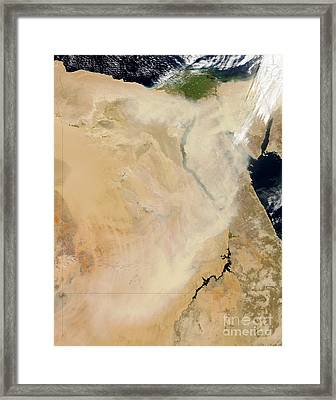 Satellite View Of A Dust Storm Framed Print by Stocktrek Images