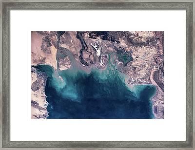 Satellite View Of Coastal Area Framed Print