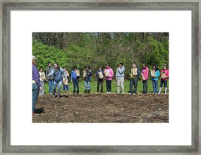 Schoolchildren Sowing Seeds Framed Print by Jim West
