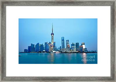Shanghai Pudong Cityscape At Night Framed Print by Fototrav Print