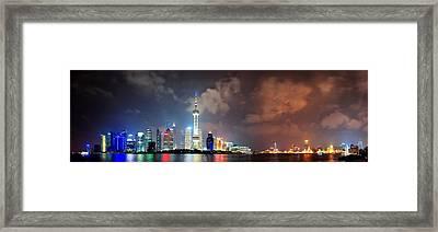 Shanghai Skyline At Night Framed Print