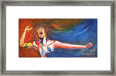 Framed Print featuring the painting Shout by Diana Bursztein
