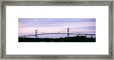 Silhouette Of A Suspension Bridge Framed Print