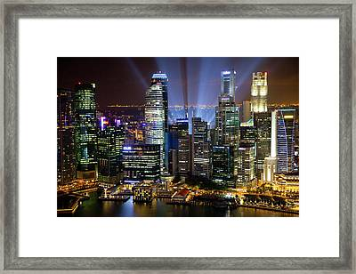 Singapore Downtown Overview At Night Framed Print by Jaynes Gallery