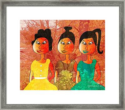 Framed Print featuring the drawing Sisters by Iris Gelbart