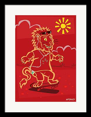 Lion With Ipod Framed Prints