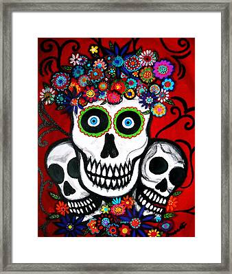 Framed Print featuring the painting 3 Skulls by Pristine Cartera Turkus