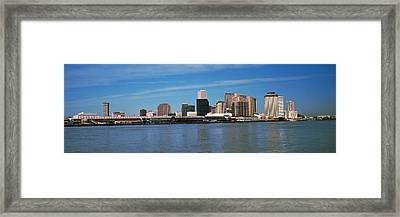 Skyscrapers At The Waterfront, River Framed Print by Panoramic Images